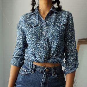 Blue Soft Cropped Button Up Floral Blouse